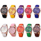 Fashion Women Girl Geneva Leather Band Stainless Steel Quartz Analog Wrist Watch
