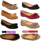 Ladies Ballet  Ballerina Dolly Casual Bow Pom Pom Flats Pumps Furry Shoes