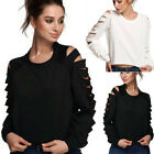 Summer Womens Loose Casual Long Sleeve Lace Shirt Blouse Ladies Tee Tops New