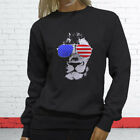 American Lion Independence Fourth Of July Top Day Womens Charcoal Sweatshirt