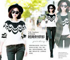 Women Ladies Loose Knitted Crewneck Sweater Sleeve Pullover Tops Knitwear S39