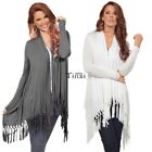 Women's Lapel Long Sleeve Open Front Casual Loose Tassel Cardigan Swearter Shirt