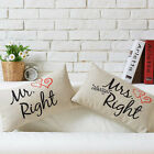 "Mr & Mrs Right Love Gift Pillow Case Cartoon Decor Cushion Cover Oblong 12""*20"""