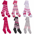 Girls Three Pack Tights Two Styles Patterned or Striped 0-6 6-12 12-18 18-24M