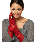 40cm long below elbow fashion real leather fashion evening everyday gloves red