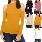 Ribbed Mock Neck Long Sleeve Cold Shoulder Top Casual Rayon Spandex S M L