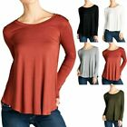 Long Sleeve Solid Scoop Neck Loose Fit Top Casual Rayon Spandex S M L