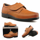 Mens New Tan Brown Leather Fullfit Touch Fastening Casual Shoes With Mudgard