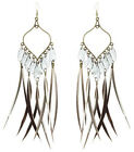 JF205 wholesale lots Feather chandelier earrings leaf beads you pick quantity
