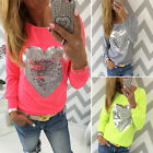 New Fashion Womens Glitter Long Sleeve T-shirt Casual Ladies Loose Blouse Tops