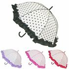 Ladies Boutique Dome Polka Dot Auto Open Walking Stick Style Brolly Umbrellas