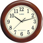 La Crosse Technology WT-3122 Wooden 12.5In; Analog Atomic Clock Walnut