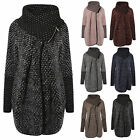 New Ladies Womens Trench Warm Zipped Cardigan Knitted Poncho Jumper Coat Italian