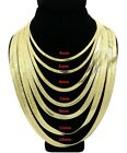 Herringbone Chain 14k Gold Finish 4mm to 14mm wide Flat Necklace