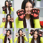 Fashion Cat Bear Paw Claw Half Finger Gloves Warm Cute Womens For Xams Gift