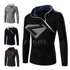 Men Zip Up Plain Hoodies Jacket Slim Sweatshirt Hooded Zipper Tops Jumper S-XL