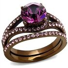 Women's Chocolate Plated Stainless Steel Wedding Engagement Ring Set Size 5-10