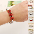 Fashion Women's Ladies Girl Silver Plated CZ Beaded Elasticity Bangle Bracelet