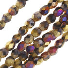 Czech Fire Polished Glass, Faceted Beads 4mm, 40 Pieces, Matte California Violet
