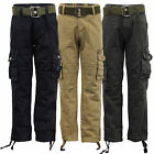 Boys Cargo Combat Chino Jeans Kids Pants FREE BELT Trouser Casual Fashion New