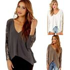 New Fashion Womens V Neck Loose Cotton Tops Long Sleeve T-Shirt Casual Blouse