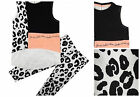 Girls ex River Island Mini 2 Piece Outfit Top Animal Print Leggings 3 mths-5 Yrs