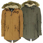 Mens Soulstar Fishtail Parka Jacket With Fur Hood Padded Fashion Military Coat