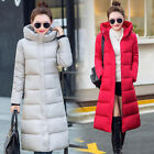 Women's Down Jackets Cotton-Padded Long Hooded Warm Coats Trench Parka Outwear