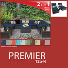 Premier 15 Piece Outdoor Wicker Patio Package PREMIER-12a-K - Navy