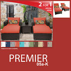 Premier 8 Piece Outdoor Wicker Patio Package PREMIER-05a-K - Tangerine