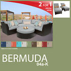 Bermuda 7 Piece Outdoor Wicker Patio Package BERMUDA-04a-K - Grey