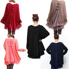Hot Women Lady Casual Plus Size Long Sleeve Loose Bowknot Party Short Dress
