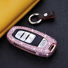 Diamond Handmade Car Key Case Cover For Audi Aircraft Aluminum Genuine Leather