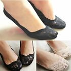 Womens Ladies Girls Skin Shoe Liners Footsies Invisible Thin Lace Socks Sheer CH