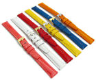 Coloured Padded Lizard Grain Leather Watch Strap 12mm 14mm 6 Colours