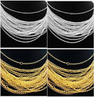 Внешний вид - Lots 30/50/100/500/1000pcs Silver/Gold plated chain Necklace finding 48cm,2mm