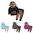 Warm Baby Kids Girls Hooded Print Toddler Tops+Pants Soft Outfits Clothes Set