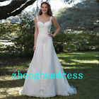 New White/Ivory Appliques Wedding Dress Wedding Gown Bride Dress Size 6 to 20
