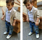 3pcs Boys Baby Toddler Kids Gentleman Coat Shirt Jeans Pants Trousers Outfit Set