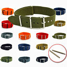 Military Watch Strap Nylon Webbing Choose Colour, Size, Buckle - Free Pins C046