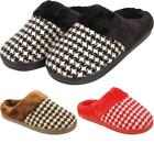 New Womens Ladies Slip On Geometric Fur Lined Warm Winter Slippers Mules Shoes