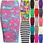 WOMENS LADIES STRETCH MIDI PLAIN PENCIL BODYCON OFFICE TUBE SKIRT PLUS SIZE 8-26