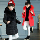 Kids Baby Girls Down Coats Cotton-Padded Thick Hooded Jackets Parka Long Outwear