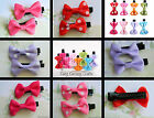 PAIR CUTE PLAIN OR POLKA DOTS RIBBON BOW FABRIC CLIP IN 1.5 INCHES GROSGRAIN