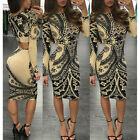 UK Womens Bodycon Long Sleeve Dress Ladies Party Evening Mini Dress Plus Size