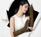 women leopard genuine Top quality half leather with suede leather evening gloves