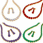 Round Cut Tennis 18K Yellow Gold Plated Gemstone Jewelry Set Necklace Earrings