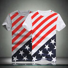 Fashion Men Flag Slim Cotton Tops Blouse Slim Short Sleeve T-Shirt US STOCK