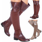 WOMENS LADIES LEATHER SHOES LOW HEEL FLAT OVER THE KNEE STRETCHY HIGH LONG BOOTS