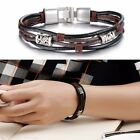 Fashion Bead Leather Wrap Braided Wristband Cuff Punk Mens Women Bracelet Bangle